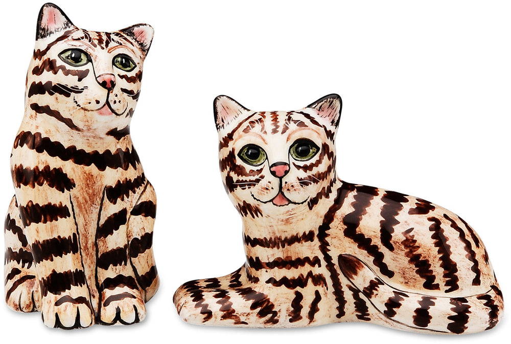 Tom & Penelope Brown Tabby Cat Salt and Pepper Shaker Set