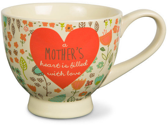 A mother's heart is filled with love Soup Bowl Mug by A Mother's Love - Beloved Gift Shop