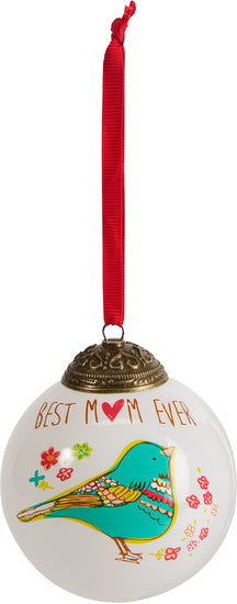 Best mom ever 80mm Christmas Glass Ornament by A Mother's Love - Beloved Gift Shop