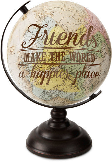 Friends make the World a happier place Decorative Desktop Globe