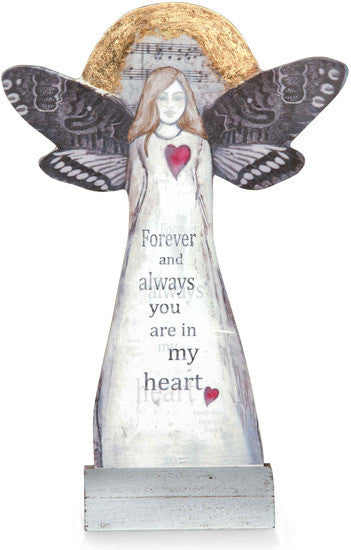 Forever and always you are in my heart - Sheet Music Memorial Angel Plaque by Sherry Cook Studio - Beloved Gift Shop