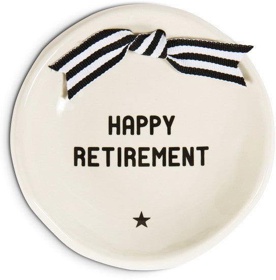 Happy Retirement Round Keepsake Dish