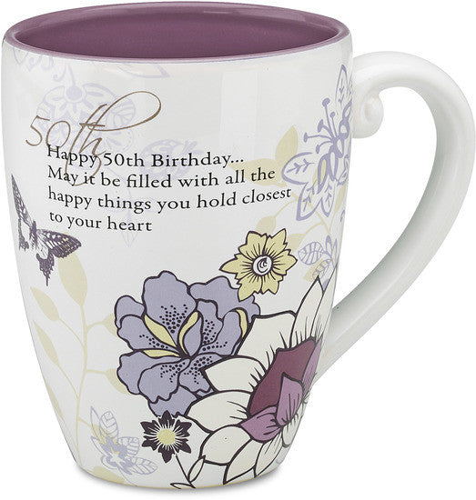 Happy 50th Birthday...May it be filled with all the happy things you hold Coffee Tea Beverage Mug Mug - Beloved Gift Shop