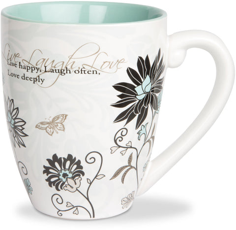 Live, Laugh, Love...Live happy, Laugh Often, Love deeply Mug by Mark My Words - Beloved Gift Shop