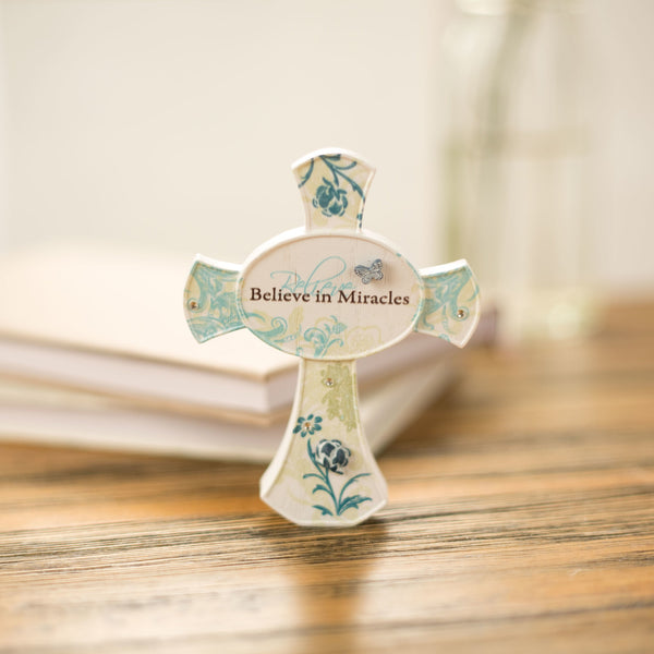 Believe in Miracles Self Standing Cross Self Standing Cross - Beloved Gift Shop