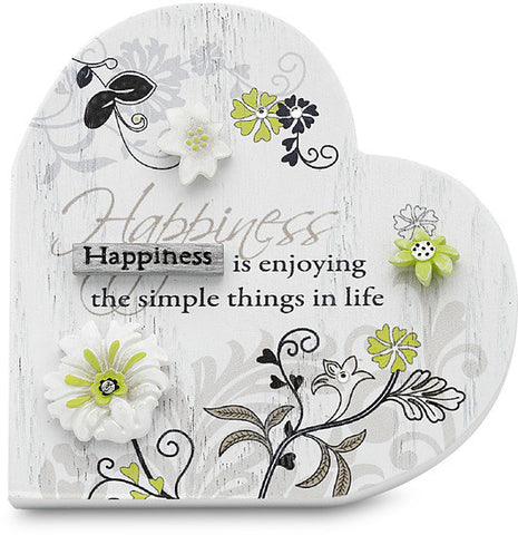 Happiness...Happiness is enjoying the simple things in life Heart Self Standing Plaque by Mark My Words - Beloved Gift Shop