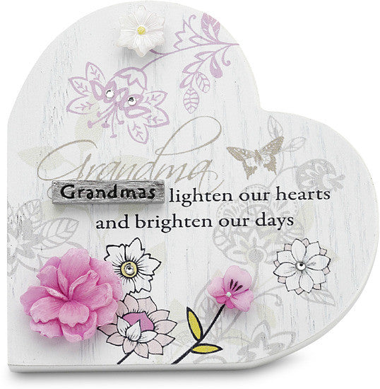 Grandma...Grandmas lighten our hearts and brighten our days Heart Self Standing Plaque by Mark My Words - Beloved Gift Shop