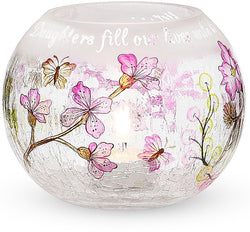 Daughters fill our lives with love and laughter Round Glass Candle Holder