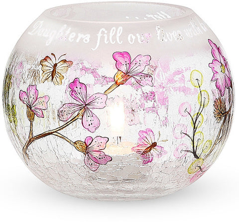 Daughters fill our lives with love and laughter Round Glass Candle Holder by Mark My Words - Beloved Gift Shop