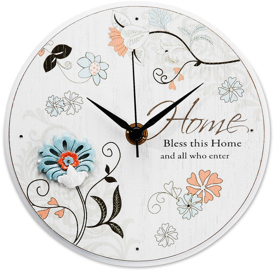 Bless this Home and all who enter Self-Standing Round Clock Clocks - Beloved Gift Shop