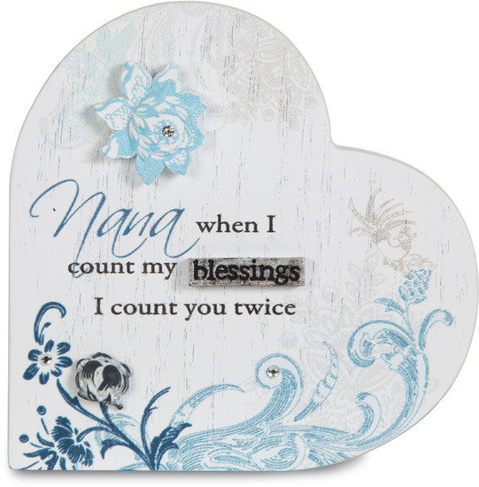 Nana when I count my blessings I count you twice Self-standing plaque Plaque - Beloved Gift Shop