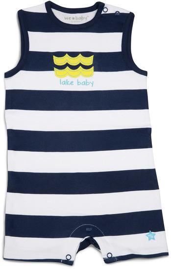 Navy and White Lake Baby Romper Baby Romper We Baby - GigglesGear.com