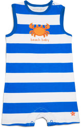Blue & White Beach Baby Romper