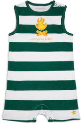 Green and Yellow Camping Baby Romper