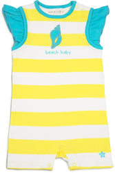 Yellow and Aqua Beach Baby Romper
