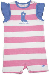 Pink and Blue Country Baby Romper