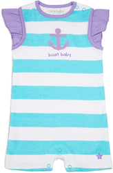 Purple and Aqua Boat Baby Romper