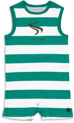 Green and White River Baby Romper