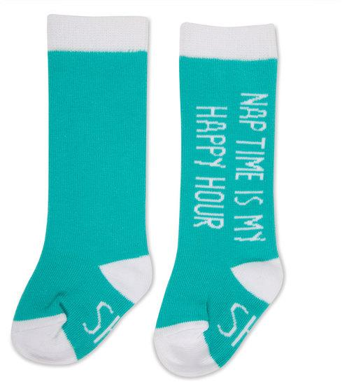 Nap time is my happy hour Baby Knee High Socks Baby Socks Sidewalk Talk - GigglesGear.com