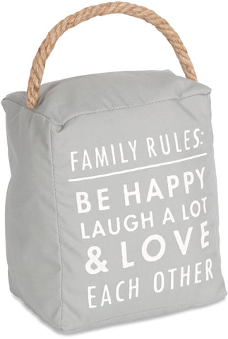 Family rules: be happy laugh a lot & love each other Door Stopper Door Stopper - Beloved Gift Shop