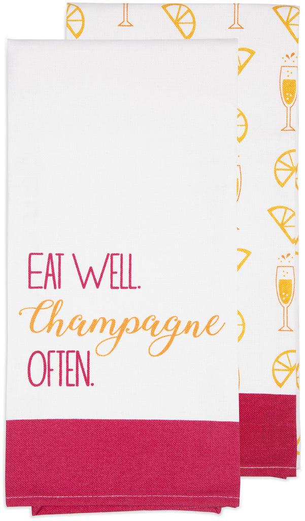 Eat well champagne often Tea Towel Gift Set Tea Towels - Beloved Gift Shop
