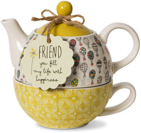 Friend you fill my life with happiness Teapot & Cup Set by Bloom Amylee Weeks - Beloved Gift Shop