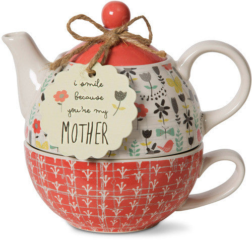 I smile because you're my Mother Teapot & Cup Set by Bloom Amylee Weeks - Beloved Gift Shop