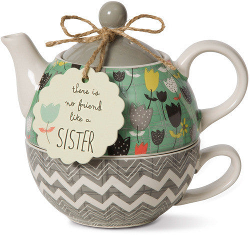 There is no friend like a sister Teapot & Cup Set by Bloom Amylee Weeks - Beloved Gift Shop