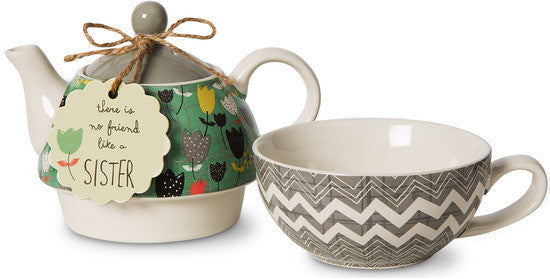 There is no friend like a sister Tea for One Teapot & Cup Set Teapot & Cup Set - Beloved Gift Shop