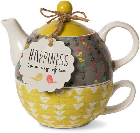 Happiness is a cup of tea Teapot & Cup Set by Bloom Amylee Weeks - Beloved Gift Shop
