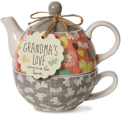 Grandma's love warms the heart Tea for One Teapot & Cup Set Teapot & Cup Set - Beloved Gift Shop