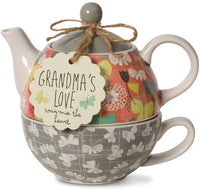 Grandma's love warms the heart Tea for One Teapot & Cup Set