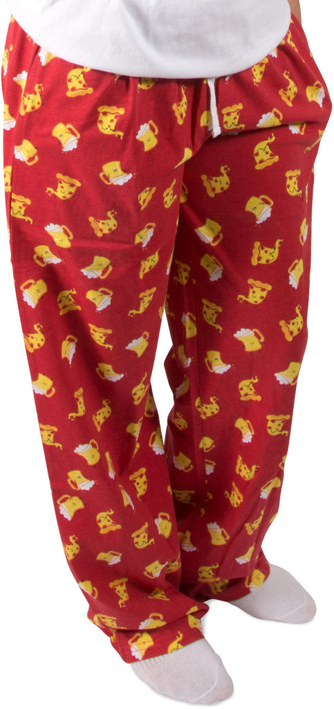 Beer and Pizza Red Unisex Lounge Pajama Pants Lounge Pants - Beloved Gift Shop