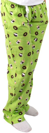Donuts and Coffee Green Unisex Lounge Pajama Pants