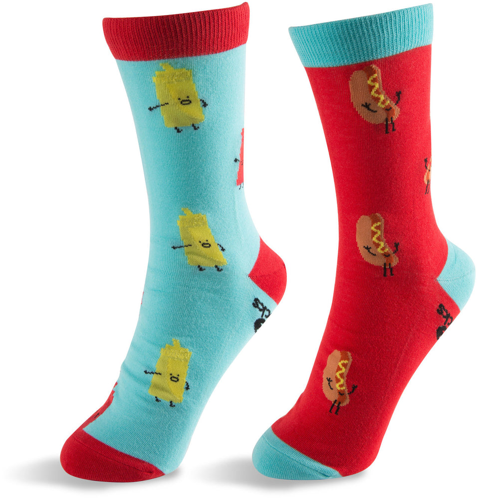 Hot Dog and Mustard & Ketchup Unisex Casual Dress Socks