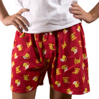Beer and Pizza Red Unisex Boxer Shorts