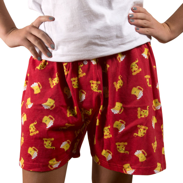 Beer and Pizza Red Unisex Boxer Shorts Boxer Shorts - Beloved Gift Shop