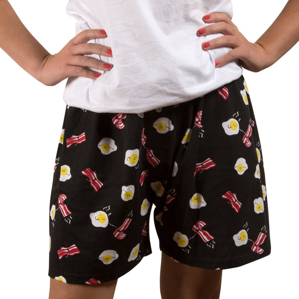 HOT Bacon and Eggs Black Unisex Boxer Shorts Boxer Shorts - Beloved Gift Shop