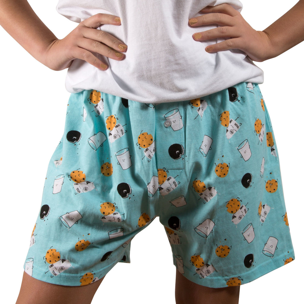 Milk and Cookies Light Blue Unisex Boxer Shorts Boxer Shorts - Beloved Gift Shop