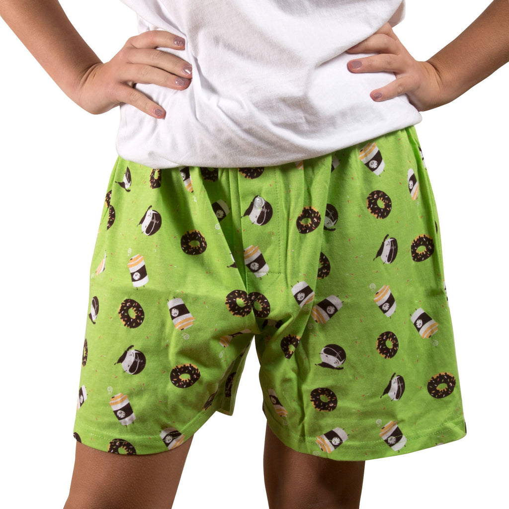 Coffee and Donut - Green Unisex Boxer Shorts Boxer Shorts - Beloved Gift Shop