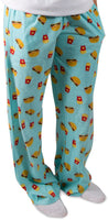 Cheeseburger and Fries Light Blue Unisex Lounge Pajama Pants