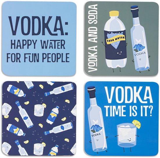 Vodka & Soda Beverage Coaster 4pc Set with Box