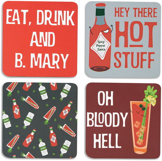 Bloody Mary Beverage Coaster 4pc Set with Box