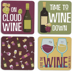 Wine Beverage Drink Coasters (Set of 4)