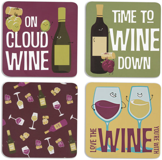 Wine Beverage Coaster 4pc Set with Box