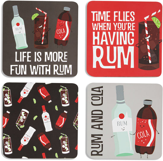 Rum & Cola Beverage Coaster 4pc Set with Box