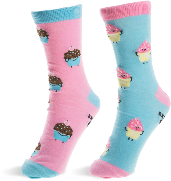 Funny Cupcakes Pink & Light Blue Mens, Womens Unisex Casual Dress Socks Socks - Beloved Gift Shop