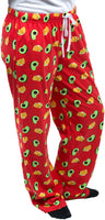 Taco and Avocado Ultra Bright Red Unisex Lounge Pajama Pants