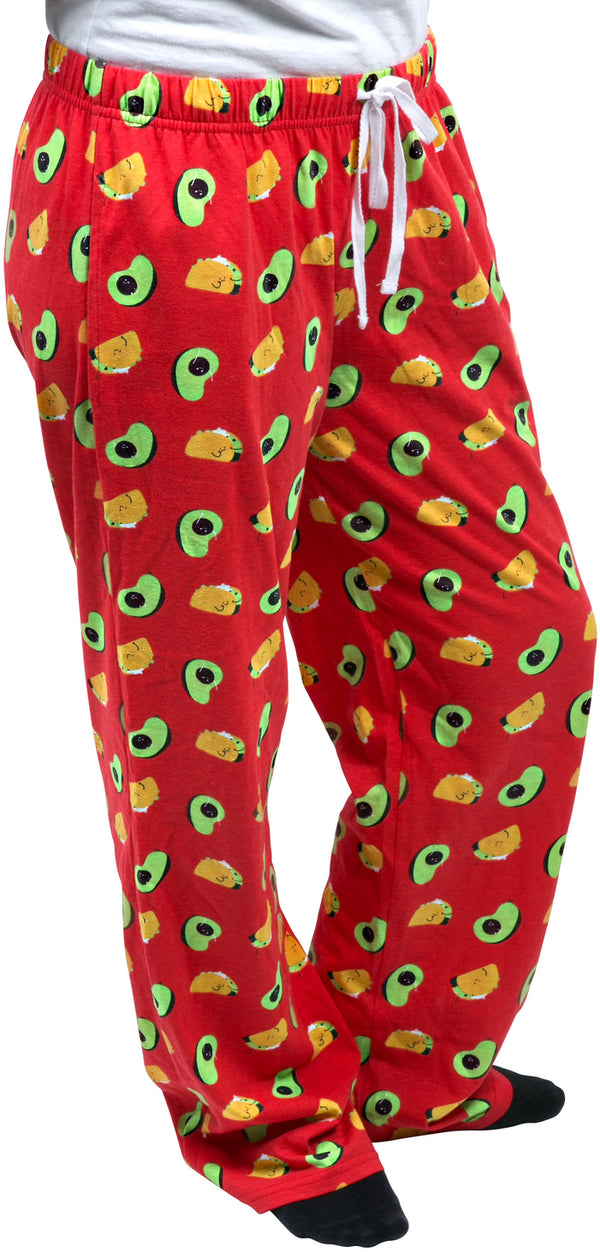 Taco and Avocado Ultra Bright Red Unisex Lounge Pajama Pants Unisex Lounge Pants - Beloved Gift Shop