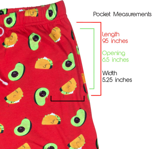 Taco and Avocado Ultra Bright Red Unisex Lounge Pajama Pants Lounge Pants - Beloved Gift Shop